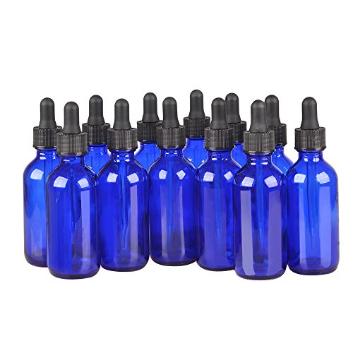 12 Pack,1oz 1 oz,Blue Glass Bottle Bottles with Black cap and Glass Droppers.Using for Essential Oils,Lab Chemicals,Colognes,Perfumes & Other Liquids.FREE 12 Chalk Labels by StarSide