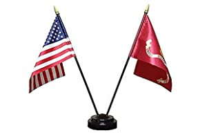 Ruffin Miniature U.S. Marine Corps and American Flag Desk Set (Black Base)