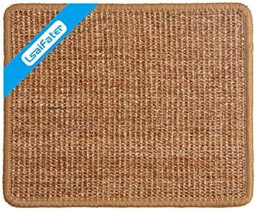 Alfombrilla rascadora para gatos de sisal natural, protege alfombras y sofás (38x30cm, Marrón)