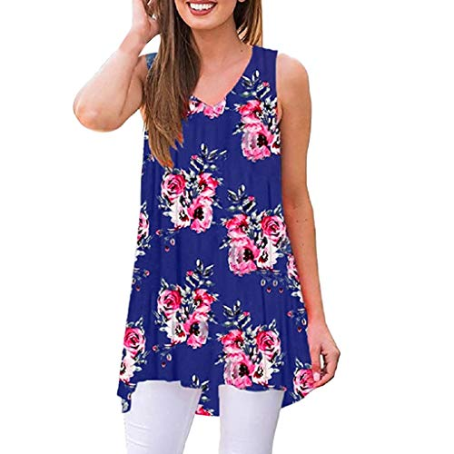 YOcheerful Women Summer Tops Sleeveless Floral Print V-Neck Tunic Tops Loose Blouse Casual Tank Tops(Navy, - Highland Ladies Plaid Pant