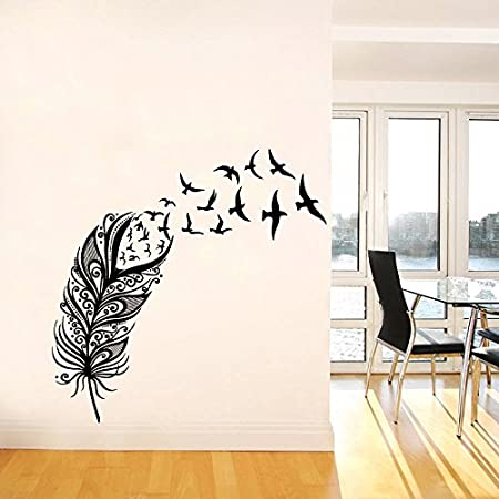 2 X Énorme Plumes Art Mural Autocollant Vinyle Autocollant Salon