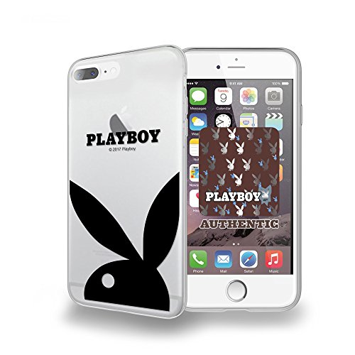 Iphone 8 Plus, Iphone 7 Plus Case, DuroCase Clear Slim Fit Flexible Hybrid Soft Gel Transparent TPU Bumper Corners Protective Case (Playboy Bunny) (Authentic Licensed Playboy)