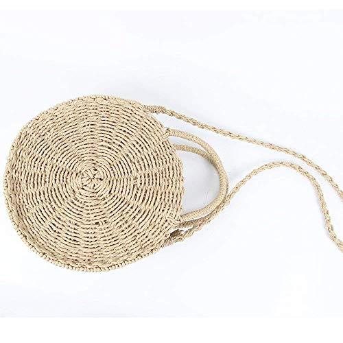Handbag Straw Khaki Bag Crossbody Bag Meeto Shoulder Women Straw Weave 18zxqwd