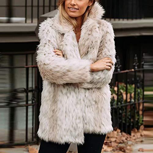 Corto Abrigos cardigan Invierno Grandes Ropa Beige Suave De Pelo Mujer Elegantes Plumas abrigo Piel Amphia Abrigo qOAxI
