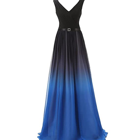 TOYIS Women\s Formal Chiffon Prom Dress Gradient Color Bandage Maxi Dress Bridesmaid Gown