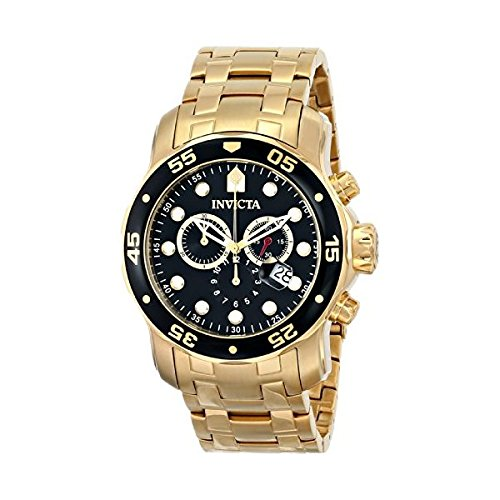 (Invicta Men's 0072 Pro Diver Collection Chronograph 18K Gold-Plated Watch )
