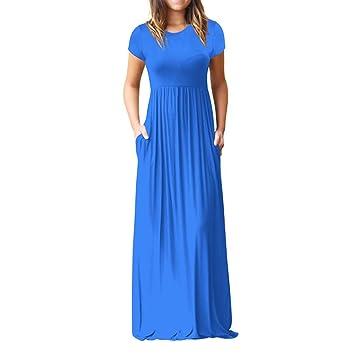LILICAT® Vestido Largo Verano Mujer, Vestido Maxi de Manga Corta Cuello O Moda Con