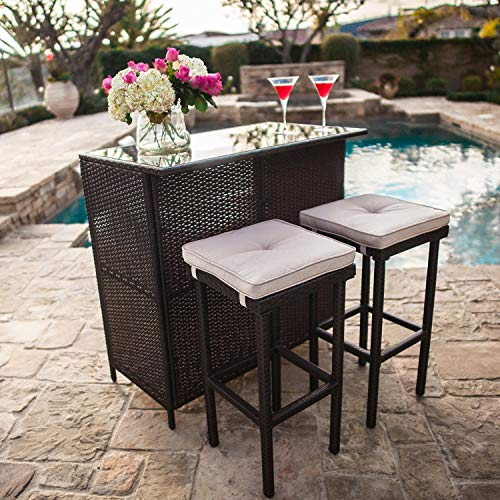 Suncrown Outdoor 3-Piece Brown Wicker Bar Set: Glass Bar and Two Stools with Cushions – Perfect for Patios, Backyards, Porches, Gardens or Poolside