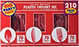 Amscan Apple Value Window Box Cutlery Set, Red