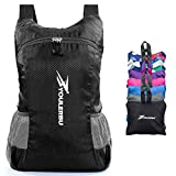 Cheap YOULERBU Light Packable Backpack,25L Daypack Waterproof Duarble Foldable Day Pack Carry on Bag Travel Outdoor Hiking for Women Men Black