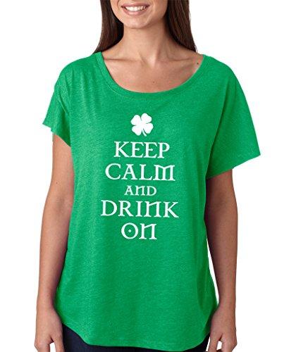 SignatureTshirts Women's Saint Patricks Day Keep Calm and Drink On Dolman T-Shirt (White Print) 2XL Green ()