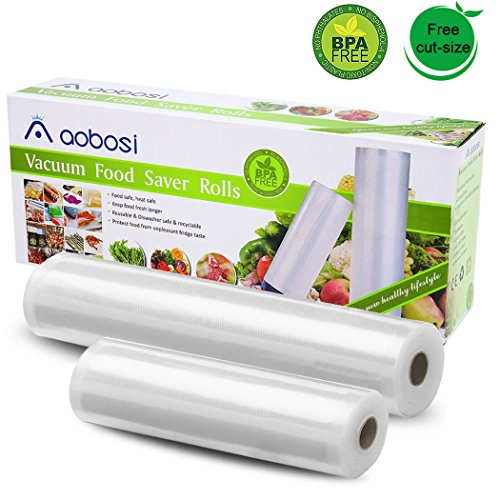 "Aobosi Vacuum Sealer Bag Rolls 11""×19.6'and 8""×19.6' BPA-Free Food Storage Bags for Food Save and Sous Vide,Compatible with all Vacuum Sealers"