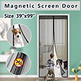Magnetic Screen Door Cover IKSTAR Double Mesh Curtain with Full Frame Hook&Loop Instant Mesh Door for Front Door and Home Outside Kids/Pets Walk Through Easily Fit Door Size Up to 36'x98' Max