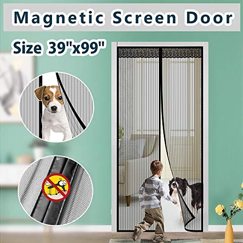 Magnetic Screen Door Cover IKSTAR Double Mesh Curtain with Full Frame Hook&Loop Instant Mesh Door for Front Door and Home Outside Kids/Pets Walk Through Easily Fit Door Size Up to 36
