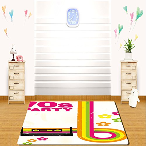 HAIXIA rugs 70s Party Decorations Party Flyer Inspired Cute Curved Stripes Daisies Audio Cassette Tape Decorative -