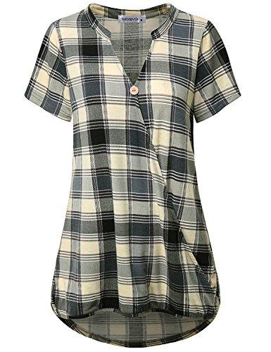 (MOQIVGI Buffalo Plaid Shirt, Woman Chic Gingham Elegant Casual Career Tops Short Sleeve Vneck Dressy Work Tunics Mandarin Collar Scottish Tartan Print Professional Blouses Gray Large)