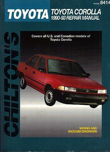 chiltons toyota corolla 1990 93 repair manual 1994 publication rh amazon com