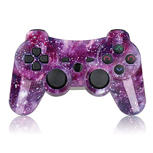 PS3 Controller Wireless SIXAXIS Double Shock Controller for Playstation 3 with Charge Cord(Purple Star)
