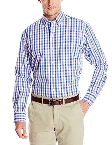 IZOD Men's Long Sleeve Coastal Prep Essential Medium Plaid Button Up, Dahlia Purple, Large