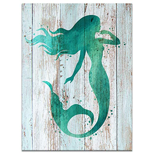Innopics Green Mermaid on Vintage Texture Wooden Background Canvas Printed Painting Abstract Watercolor Giclee Print Art Retro Classic Wall Decor Framed for Home Bathroom Bedroom Decoration 24