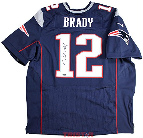 TOM BRADY Autographed Patriots Nike Elite Blue Jersey STEINER / TRISTAR