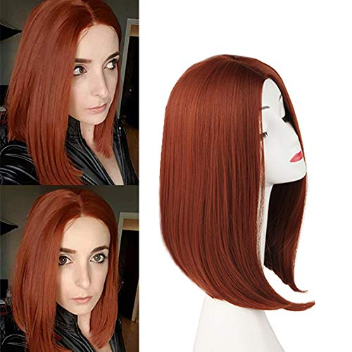 Short Ginger Reddish Straight Hair Wigs for Women Shoulder Length Thick Bob Wig Middle Parting Long Bob Synthetic Wigs Natural Looking Copper Red Cosplay Wig with Wig Cap(14inch, 5015,Copper Red)