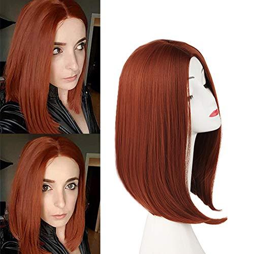 Short Dark Orange/Ginger Reddish Straight Hair Wigs for