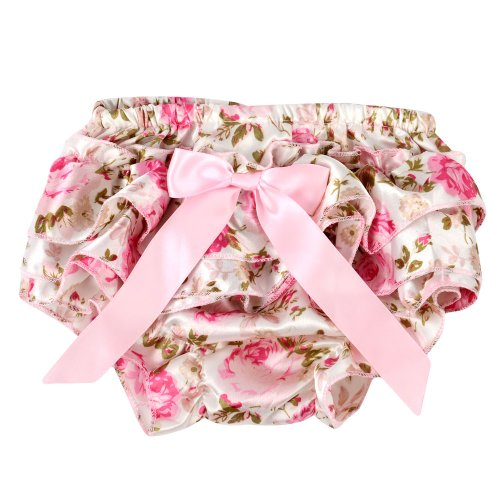 Price comparison product image ANDI ROSE Cute Baby Girls Pettiskirt Ruffle Panties Briefs Bloomer Diaper Cover (Size-M(6-24 Months), Pink rose)