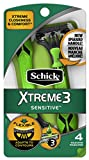 Schick Xtreme 3 Senstive Skin Disposable Razors for Men With New Heavyweight Handle, 4 Count (Pack of 3)