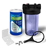"""Whole House Water Filter Purifier System, Transparent Big Blue Housing with Presser Relief Button, 1"""" Inlet/Outlet Brass Port & (GAC) Granular Activated Carbon Filter Cartridge (10 Inches)"""