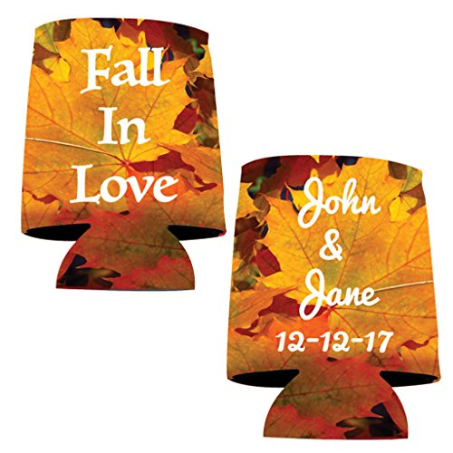 Personalized Wedding Can Cooler- Fall In Love (100) by VictoryStore