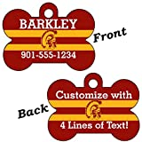 USC Trojans Double Sided Pet Id Dog Tag Personalized With 4 Lines of Text