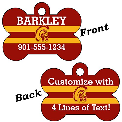 USC Trojans Double Sided Pet Id Dog Tag Personalized With 4 Lines of Text by uDesignUSA