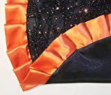 "Tabletop Halloween Tree Skirt, 24"" Black Flocked Spider Webs with Orange Sequins"