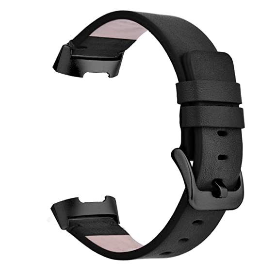 CAGOS Bands Compatible Fitbit Charge 3 Charge 3 SE Classic Replacement  Genuine Leather Bands with Metal Connectors (Black+Black Clasp)