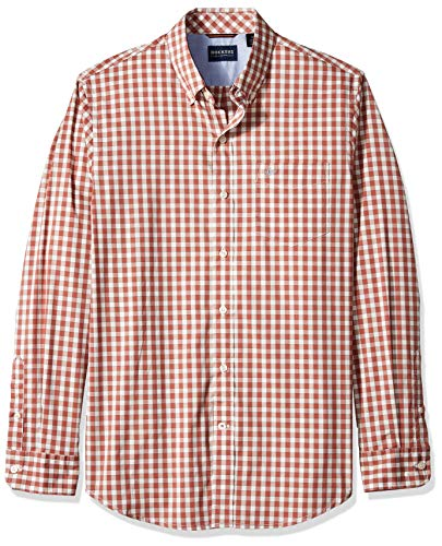 Dockers Men's Long Sleeve Button Front Comfort Flex Shirt, Massie Marsala Plaid, X-Large (Casual Sleeve Plaid Long)
