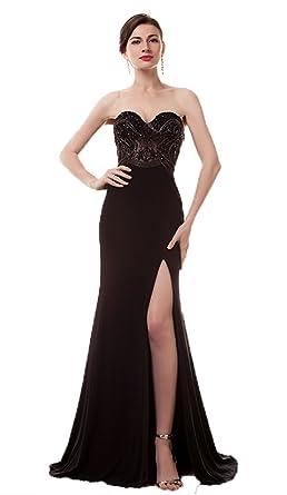 Annas Bridal Womens Split Dresses Mermaid Prom Dress Long Evening Gowns Black US2