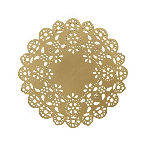 Eyelet Gorgeous (Ariana Ost Eyelet Doily Handmade Coaster Made From Brass Metal for Home Accessories and Decorations, Prevents Furniture and Tabletop Damages (4