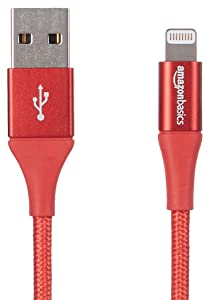 AmazonBasics Double Braided Nylon Lightning to USB A Cable, Advanced Collection - MFi Certified iPhone Charger- Red, 10-Foot