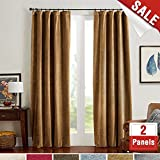 jinchan Room Darkening Velvet Curtains Gold Brown Drapes for Bedroom, Thermal Insulated Rod Pocket Window Curtain for Living Room (2 Panels, 52 by 108 Inch) Review