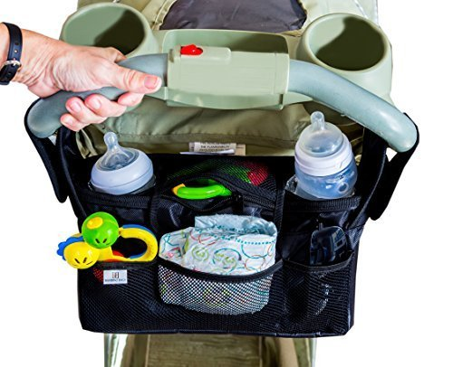 Universal Baby Organizer Bag For Strollers - Best Quality - Fits Britax, City Mini, Bob, Uppababy, Umbrella, plus many others. 2 Deep Insulated Cup Holders With Easy Storage Of Essential Items, Black