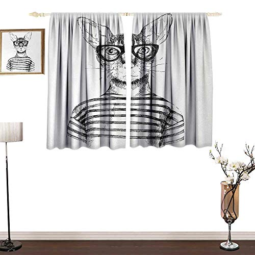 (Slunmarl CatThermal Insulation curtainHand Drawn Dressed Up Hipster New Age Cat Fashion Urban Free Spirit Artwork PrintSun Isolation Curtain Protection UV Pare52×36