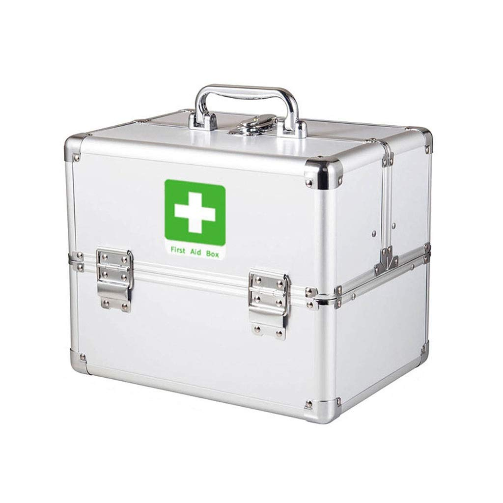 コンパートメントが付いているロックできる応急処置キットの医学箱、金属の医学の容器の緊急のキットのキャビネット (Color : L)  L B07RM9FMYD