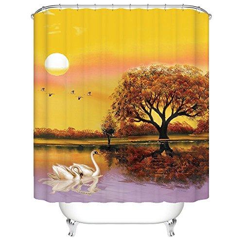Shower Swan Crystal (Romantic Sunset Lake Tree Water Reflection Swan Beautiful Bathroom Mildew Resistant Fabric Shower Curtain)