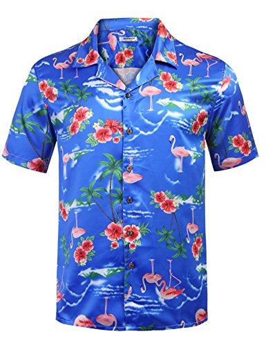 HOTOUCH Men's Premium Hawaiian Shirt Tropical Palm Trees Pattern Short Sleeve Aloha Shirts (Pattern1 XXL) (Tree Pattern Palm)