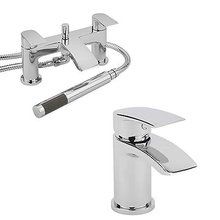 BRAND NEW Chrome Mono Basin Mixer /& Bath Shower Mixer TapChrome Bath Tap Set