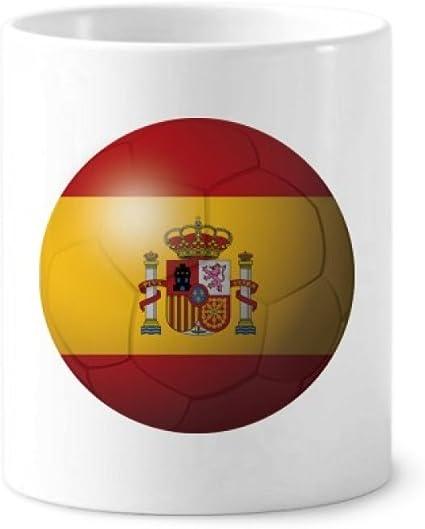 DIYthinker Titular de cerámica España Bandera nacional de fútbol del fútbol taza de cepillo de dientes de la pluma blanca Copa 350ml regalo 9,6 cm de alto x diámetro 8.2cm: Amazon.es: Oficina