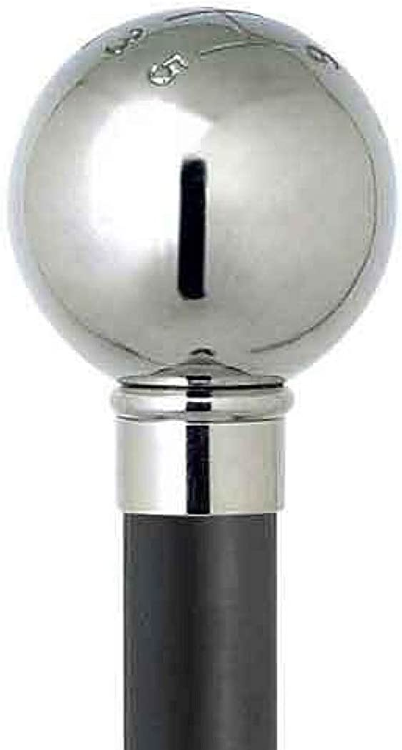 Design Schuhanzieher Schuhl/öffel 70 cm mit silbernem Schaltknauf als Griff schwarzer Holzschaft
