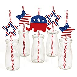 Election (R) Paper Straw Decor - Political Party Striped Decorative Straws - Set of 24