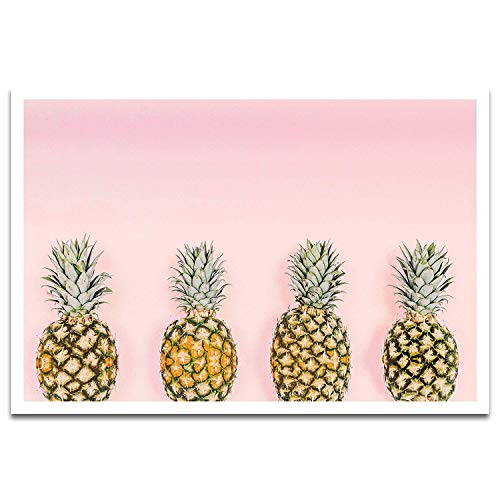 Visionary Prints Pineapple Love - Modern Fruits and Cuisine Art Print. Yellow Pineapple Poster Print. Pink, 19